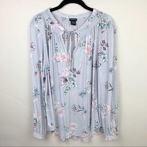 Torrid Floral Print Long Sleeve Blouse